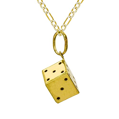 14 K Yellow Gold Dice Pendant Necklace   2.0 Mm White Pave Figaro Chain by Pyramid Jewelry