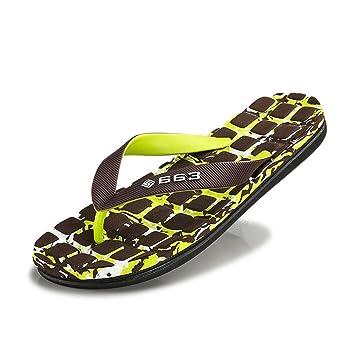 95a447563 Mens Flip Flops Beach Sandals Lightweight EVA Sole Comfort Thongs XW_J  (Color : Green,