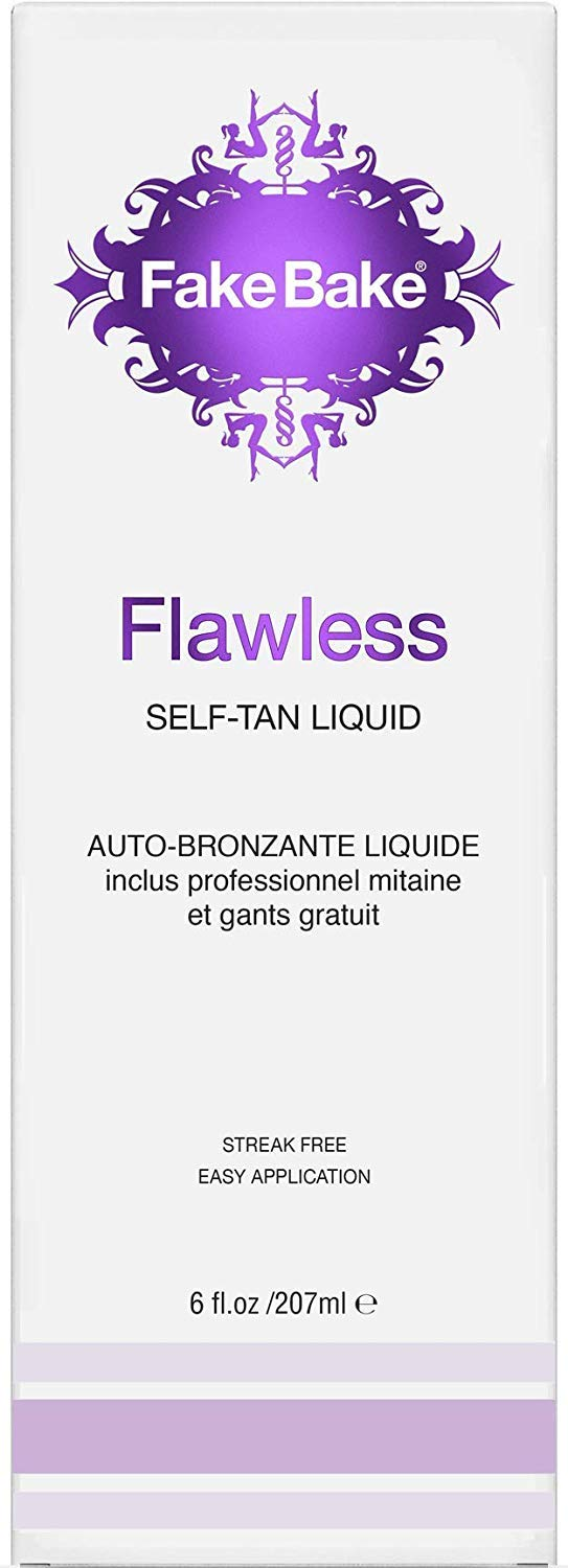 Fake Bake Flawless Self-Tanning Liquid   Streak-Free, Long-Lasting Sunless Natural Glow For All Skin Tones   Black Coconut Scent   Includes Tanning Mitt For Easy Application   6 oz (Pack of 2)