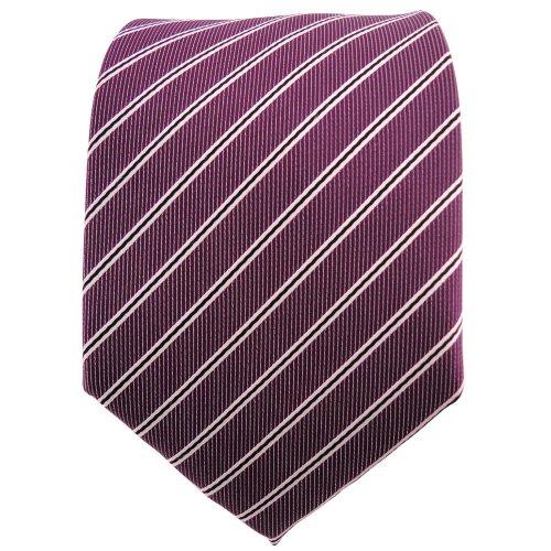 TigerTie cravate en prune violet argent blanc noir rayé - Tie