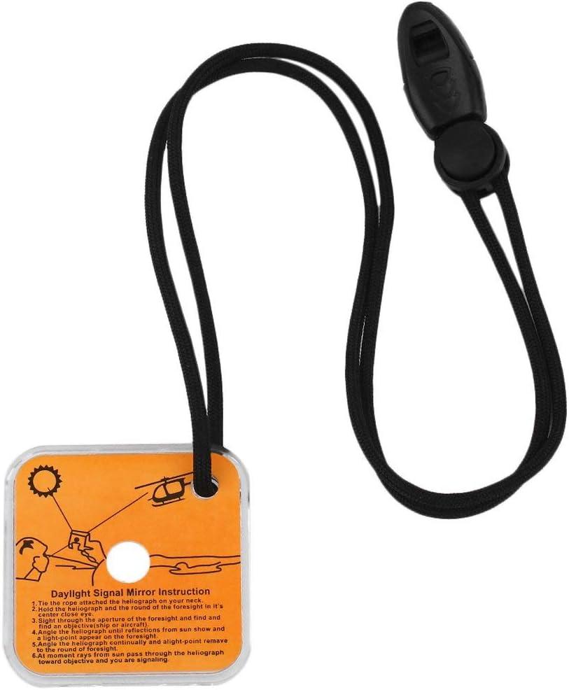 Noir Panamami Miroir de signalisation dh/éliographe avec Outil de Survie durgence ext/érieur Multifonctionnel avec Fonction de ciblage