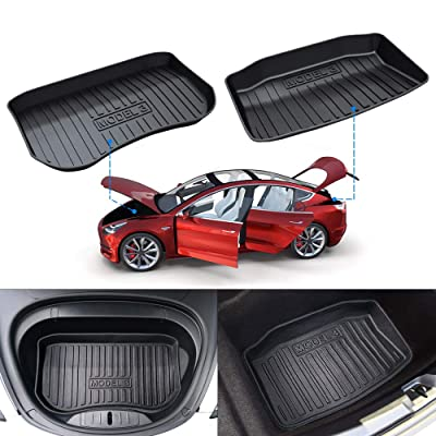 Mixsuper Model 3 Front and Rear Trunk Organizer All Weather Trunk Liner Durable TPO Cargo Storage Mat for Tesla Model 3,2 Pack: Automotive [5Bkhe0115472]
