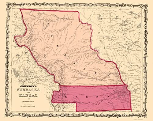 Free Nebraska Map.Amazon Com Old State Map Nebraska Kansas Johnson 1860 23 X