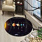 Outer Space Round Area Rug Solar System Scientific Information Jupiter Saturn Universe Telescope PrintOriental Floor and Carpets Multicolor