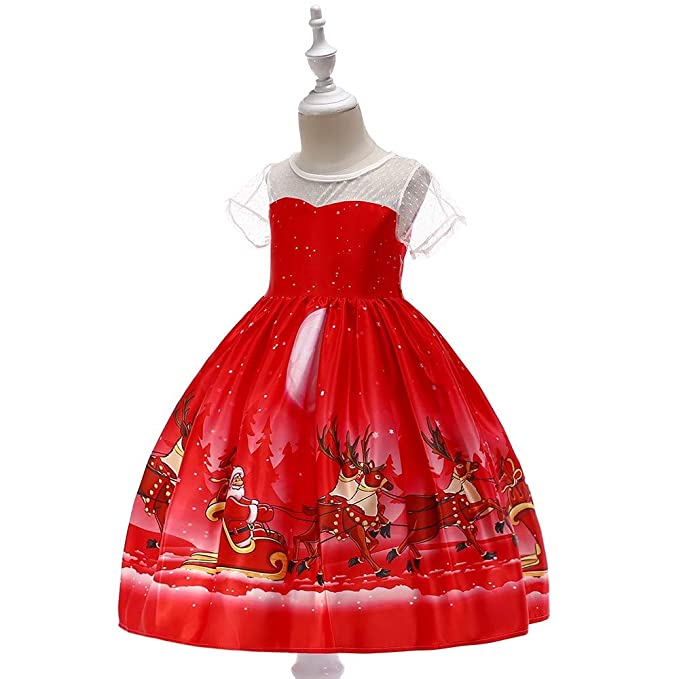 19592a93949 Amazon.com  Feitengtd Christmas Costume Toddler Kids Baby Girls Short  Sleeved Santa Print Princess Dress Outfits Clothes Red  Clothing