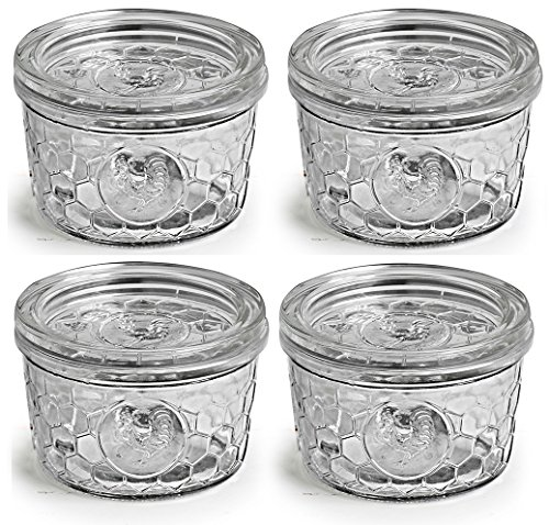Circleware Rooster Yorkshire Mason Glass Jars Glass with Glass Lids, 12 Ounce, Set of 4, Limtited Edition Glassware Serveware by Circleware (Image #6)