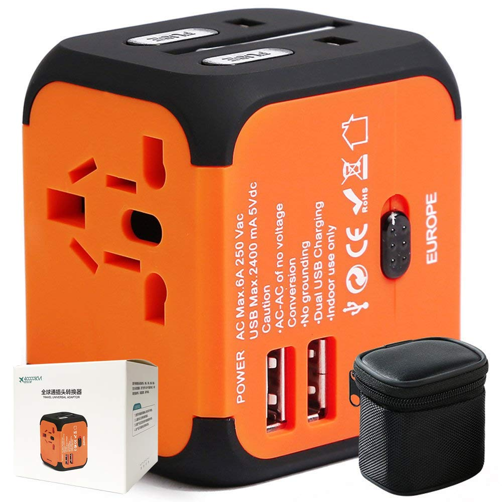 40000KM Universal Travel Adapter with Dual USB Port,All in One Worldwide International Power Plug Adapters with Surge Protection for USA Europe UK AUS-Orange