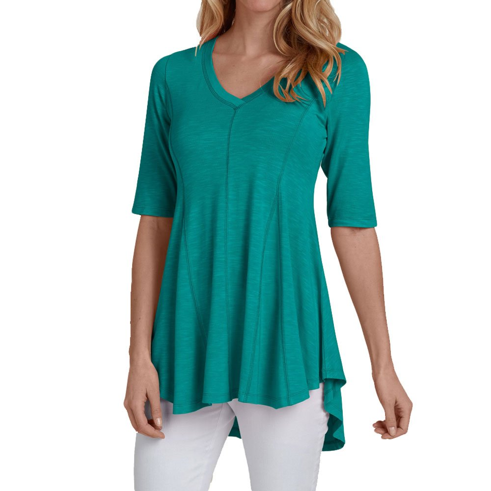 fea4ecccd9c Feature:Half sleeve/Sexy v neck/High low hem.Casual loose fit swing tunic  shirts /blouses tops / A-Line blouses for women. Design: Sexy v neck summer  basic ...