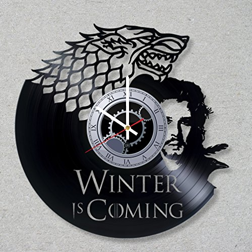 (Vinyl Record Wall Clock Game of Thrones Jon Snow Wolf HBO Dragons Winter Coming Night King unique gift ideas for friends him her boys girls World Art Design)