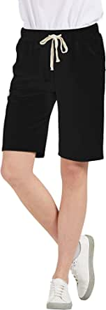 Chartou Women's Comfy French Terry Elastic Wasit Knit Jersey Bermuda Shorts with Drawstring