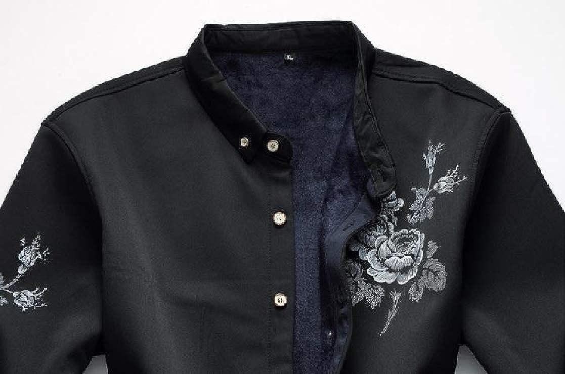YUNY Mens Printed Plus-Size Long Sleeve Plus Velvet Thick Warm Fit Shirt Black XL