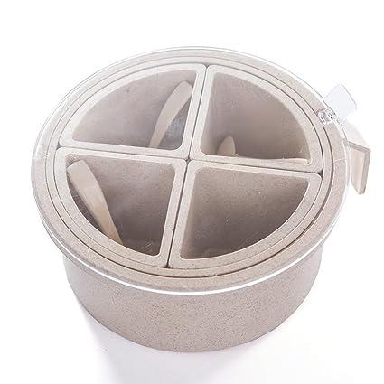 Dispensador de condimentos con 3/4 compartimentos para especias para cocina 4 Grid Beige1
