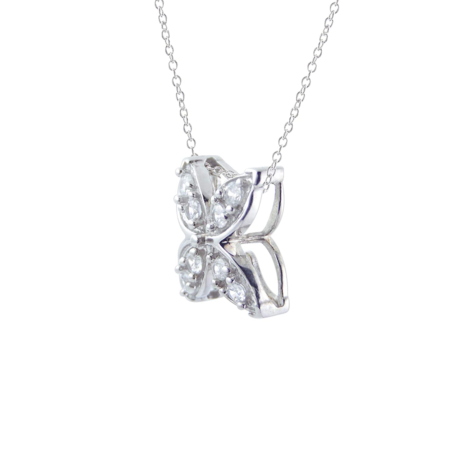 Diamond Scotch 0.18 Ct Round Simulated Diamond Cubic Zirconia Clover Flower Pendant Necklace in 14k White Gold Over