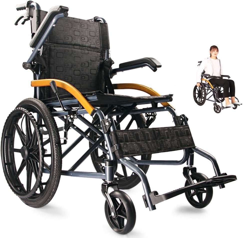 D-Q Ligera silla de ruedas plegable silla de ruedas plegable apoyabrazos delantero y freno de mano con ruedas de diseño posterior de cierre del freno de mano for mayores usuarios discapacitados de mov
