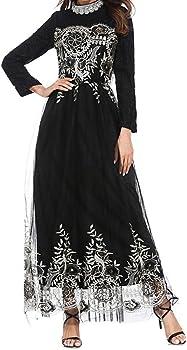 zhxinashu Vestiti Lunghi Abbigliamento da Donna Pizzo Musulmano Abito da  Sposa Maxi Gonna Chiffon Abiti Arabo Indumento eb391c29d53