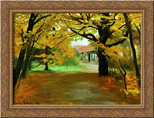 (Artist's House in Skagen Plantation 24x18 Gold Ornate Wood Framed Canvas Art by Peder Severin Kroyer)