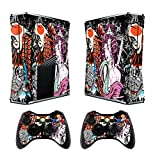 Skin for Xbox 360 Slim Sticker Decals for X360 Custom Cover Skins for Xbox360 Slim Modded Console Game Accessories Set Decal Stickers with 2 Wireless Remote Controllers - Tsunami by GameXcel ®