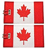 Luggage Tags, Canadian Flag, Embroidered, 2 Pack, 6 COLORS, NEVER BREAK!