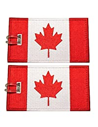 Luggage Tags, Canadian Flag, Embroidered, 2 Pack, 5 COLORS, NEVER BREAK!