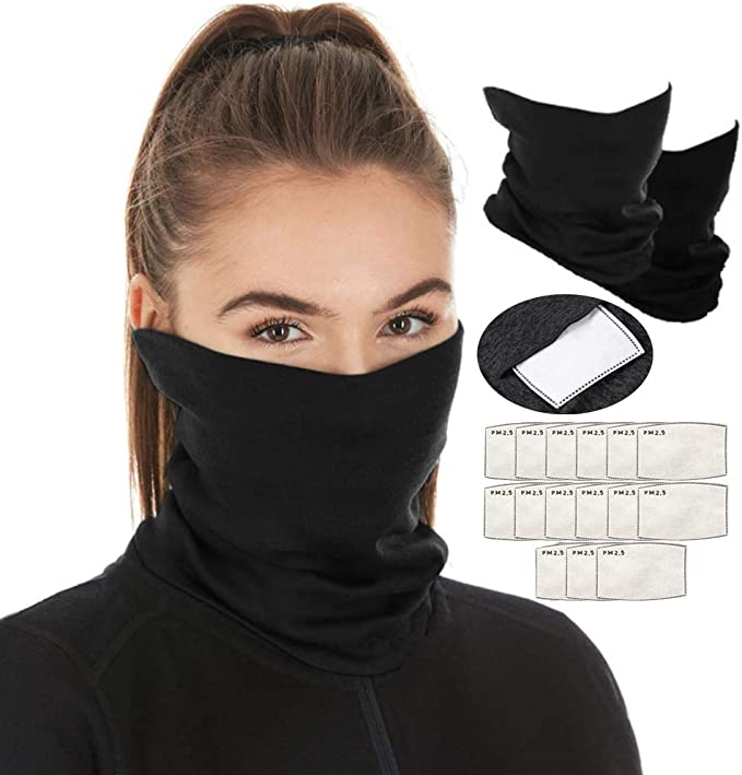 Defrsk 4Pcs Neck Gaiter Bandana Face Scarf with 10pcs Filters Multifunctional Scarf Face Cover Sun Protection Cool Lightweight Breathable Dust-proof for Fishing Hiking Running Cycling