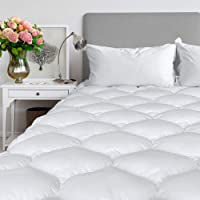 """Texong Mattress Pad Cover Cooling Soft Mattress Topper,Breathable Hypoallergenic Cotton Top, Excellent Combed Cotton Filling,8-21"""" Fitted Deep Pocket"""