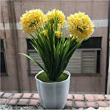 XICHEN Artificial Potted Plant, Hydrangea, 10Inch (Yellow)