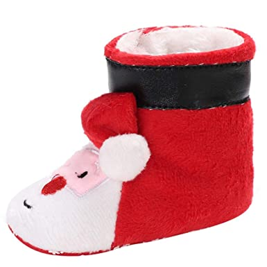 2d0a109c2d Baby Boys Girls Christmas Santa Booties Slippers Warm Fur Snow Boots  Toddler Pull On Crib Shoes