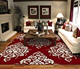Luxury Large 8'x11' Contemporary Rugs Red & Ivory Cream Modern Rugs 8x10 Cheap Rug Sets Prime Flower Leaf Pattern Carpet, Large 8x11
