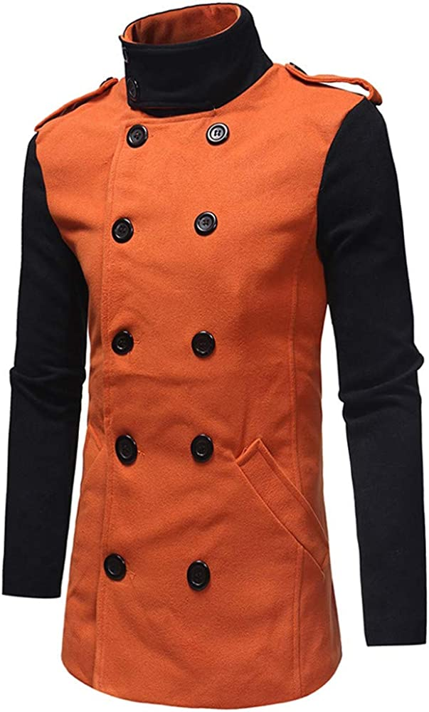 iYYVV Mens Autumn Winter Fashion Color Collision Double Breasted Windbreaker Jacket