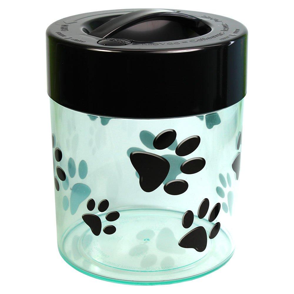 Pawvac 2.5 Pound Vacuum Sealed Pet Food Storage Container; Black Cap & Clear Body/Black Paws