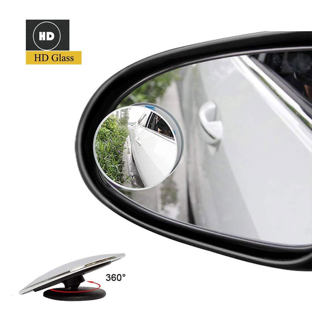 Espejos para punto ciego, CLKJCAR, impermeables, sin marco, giratorios, 360 ° , espejo retrovisor convexo, duradero, para coches, furgonetas, camiones, motos y má s, 2 unidades 360 ° motos y más