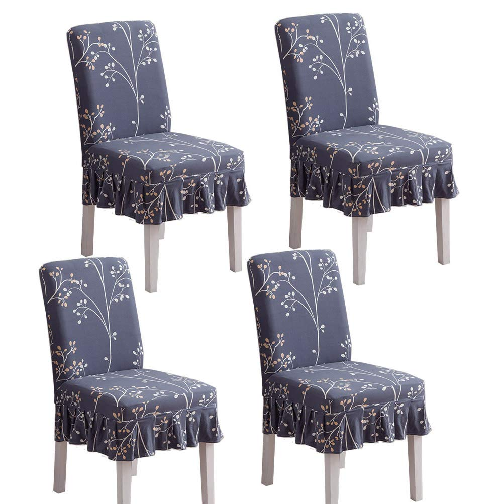 BLUETOP 4PCS Dining Room Chair Covers Spandex Fabric Soft Stretchy Skirted Seat Cover Removable Washable Dining Chair Slipcovers for Home Hotel Ceremony Party Wedding Decor