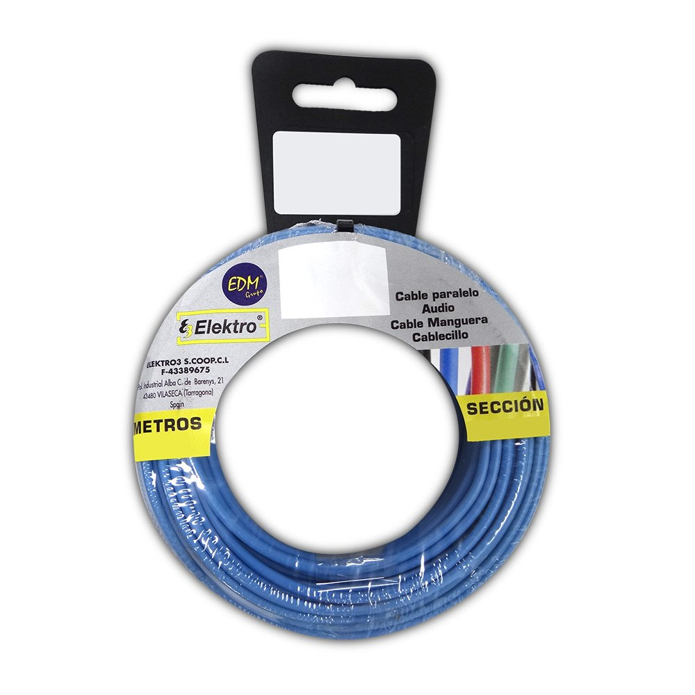 CARRETE CABLECILLO FLEXIBLE 4 mm. AZUL 10 MTS. LIBRE-HALOGENO EDM