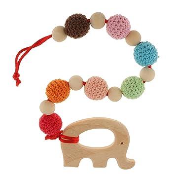 Gazechimp Baby Greifling Beißring Lernspielzeug Hölzerner Zahnring