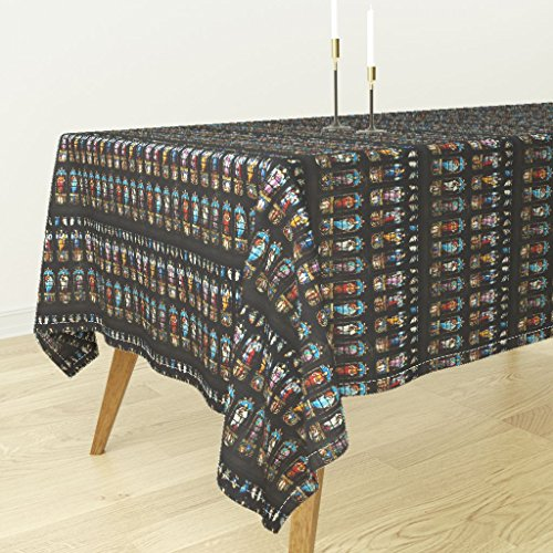 Tablecloth - Brontes Haworth England Church Stained Glass Window Saints by Peacoquettedesigns - Cotton Sateen Tablecloth 70 x 90