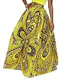 Macondoo Womens Fashion Africa Printed Dashiki Swing Flare Maxi Skirts 11 M