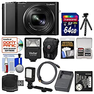 Panasonic Lumix DMC-ZS100 4K Wi-Fi Digital Camera (Black) with 64GB Card + Battery & Charger + Case + Flash + LED Light & Bracket + Flex Tripod Kit