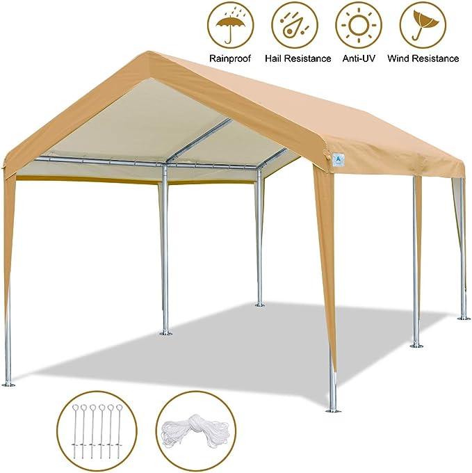 ADVANCE OUTDOOR Tienda de campaña Resistente para cochera o Garaje con piquetas de Acero y Anclajes 10 x 20 pies: Amazon.es: Jardín