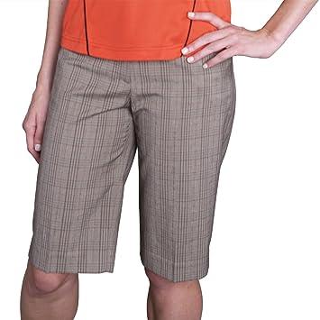 Amazon.com: Monterey Club Ladies Stretchable Plaid Bermuda Shorts ...