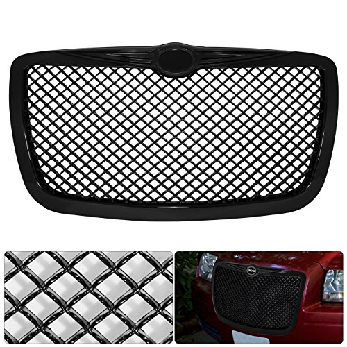For Chrysler 300 300C Badgeless Black Diamond Mesh Front Hood Bumper Grille Grill Replacement Upgrade