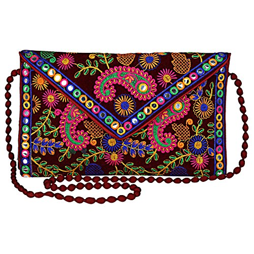 Beaded Purse (Evergreen Handmade Embroidered Banjara foldover Clutch Purse-Sling Bag-Cross Body Bag (Maroon Color))