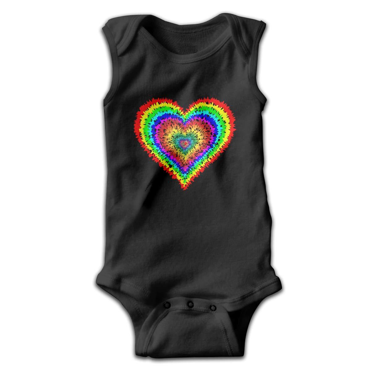 MMSSsJQ6 Tye Dye Heart Infant Baby Boys Girls Infant Creeper Sleeveless Rompers Romper Jumpsuit