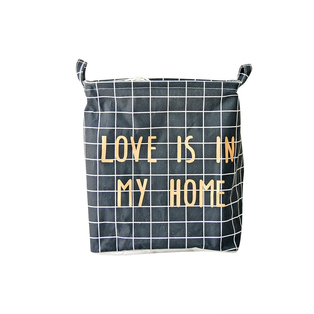 WANDIC Laundry Basket Vibola LOVE IS IN MY HOME Cotton Linen Waterproof PE Coating Storage Basket Sundries Storage Shopping Box Black