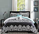 Intelligent Design Leona Comforter Set Twin/Twin XL Size - Black, Aqua, Damask – 4 Piece Bed Sets – Peach Skin Fabric Teen Bedding for Girls Bedroom