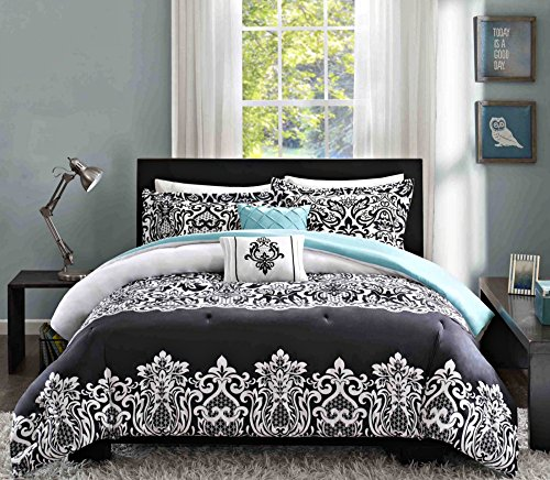 Intelligent Design Leona 4 Piece Comforter Set, Black, Twin/