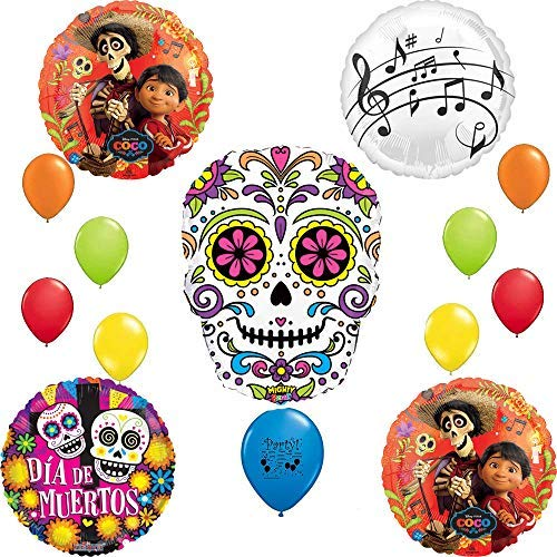 Disney Coco Birthday Party Supplies Decorations Happy Skull Day of The Dead Balloon Bundle -