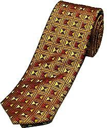 Zarrano Skinny Tie 100% Silk Woven Orange/Maroon Square Tie