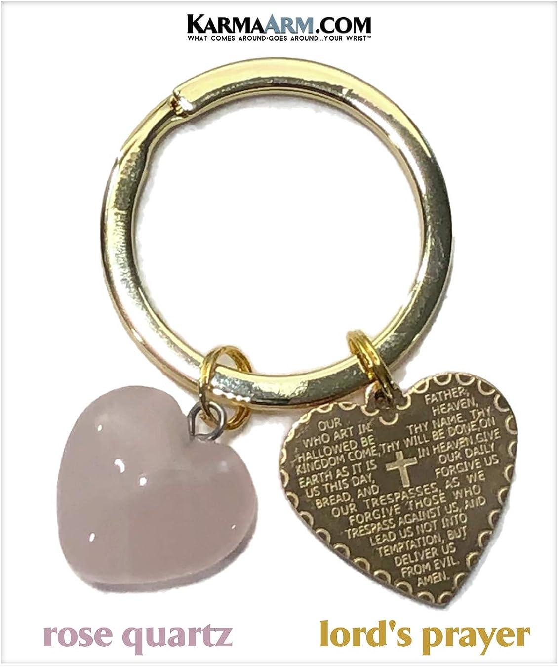 Spiritual Keyring Lords Prayer Heart Rose Quartz Heart Charm Keyring