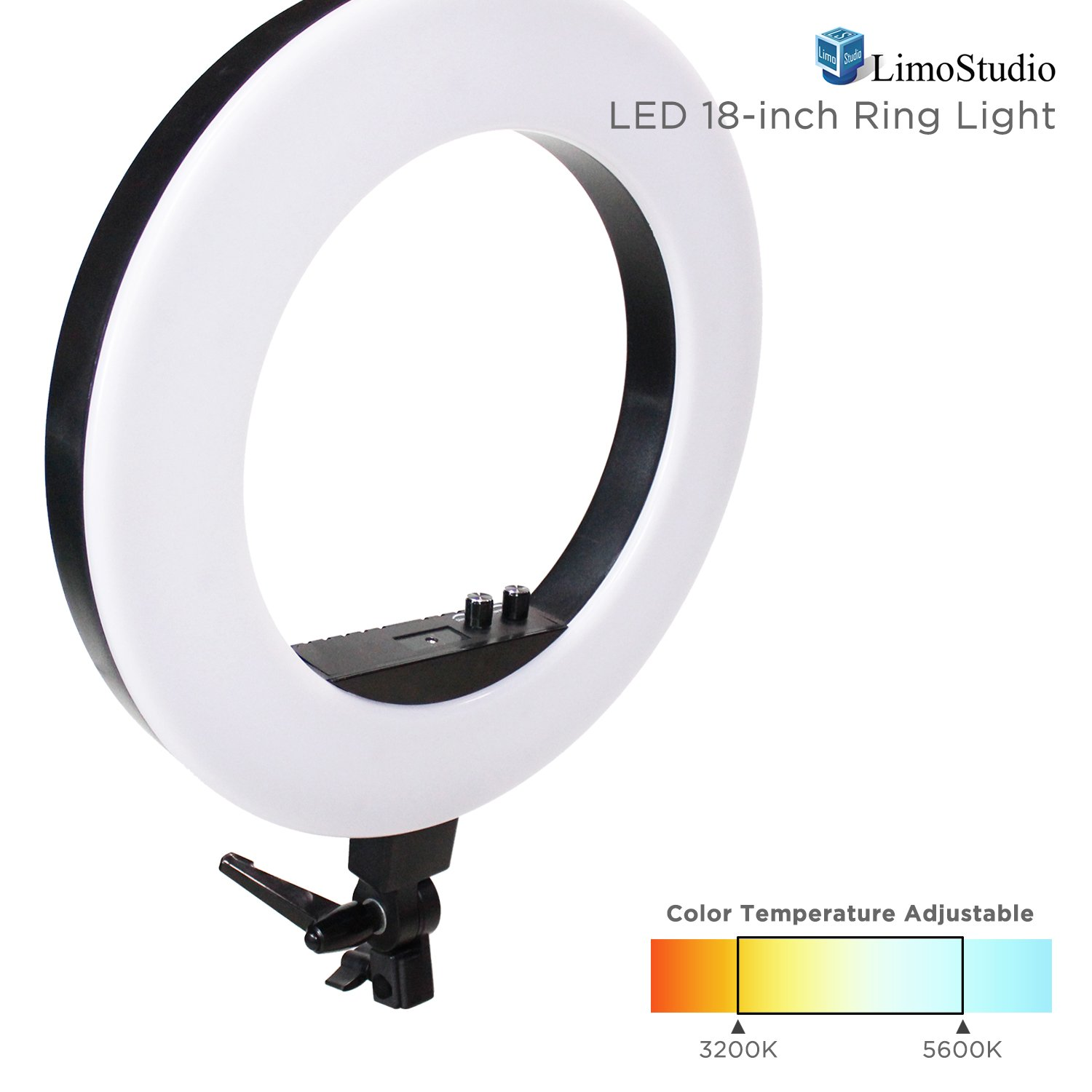 LimoStudio 18 Inch Bi-color LED Ring Light for Video & Photography, Color Temperature Adjustable & Brightness Control Dimmer Switch, Camera Mounting Adapter Bracket, AGG2394V3