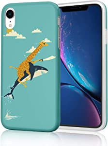 Cute Protective Phone Case for iPhone XR, Raised Edges Scratch Resistant Light Weight Slim Flexible Soft TPU Glossy Bright Rubber Silicone Skin Cover for iPhone XR (Marvelous Funny Giraffe and Shark)